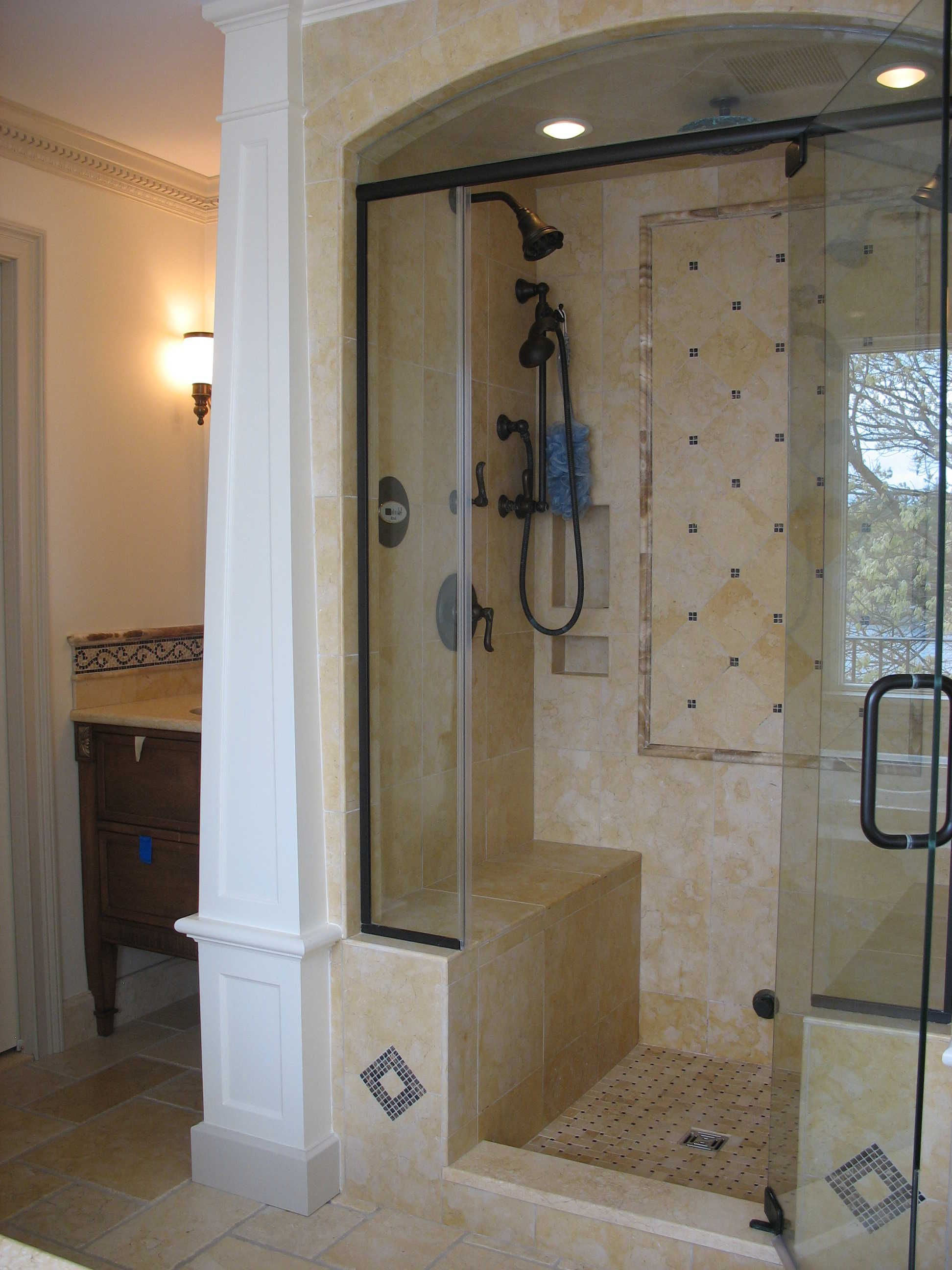 Custom stand up shower philip j becker Bathroom remodel ideas with stand up shower